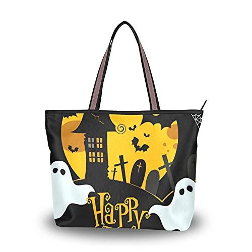 NaiiaN Halloween Moonlight Vintage Pumpkin Spooky Bat Ligero Correa Monedero Compras Bolsos de hombro Bolso de mano Bolsos para madres Mujeres Niñas Señoras Estudiante