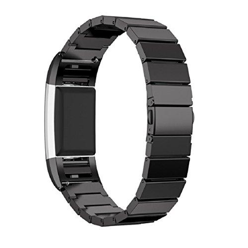 Vovotrade 2016, echt roestvrij stalen armband, smartwatch bandbeugel voor Fitbit Charger, zwart