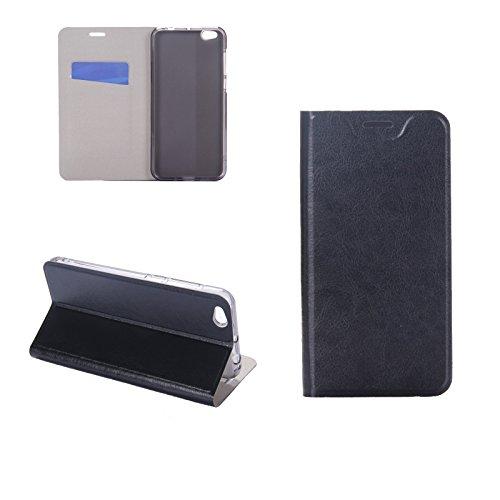 Digital Bay Hülle XIAOMI MI 5C Taschen [Flip Armor] Kartenfach [Diamant Schwarz] Doppelte Schutzschicht mit Luftpolster-Kantenschutz - Card Holder Schutzhülle, Jet Black