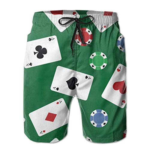 First Ring Shorts de Tablero Gambling Poker Chips Play Cards Shorts de...