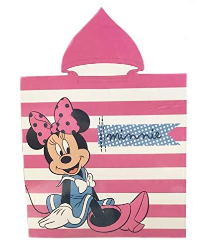 Toalla Minnie Poncho Microfibra, Capa Disney Rayas Rosa 50x100cm