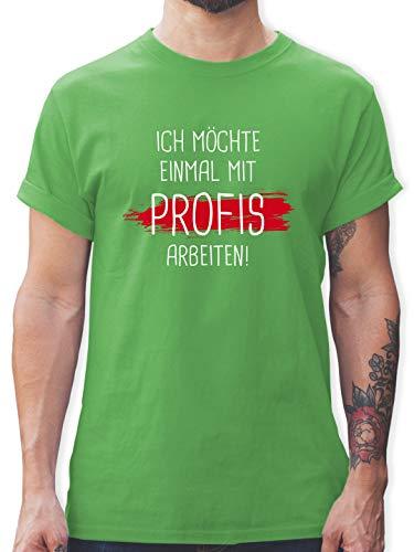 Sprüche - Einmal mit Profis Arbeiten - L - Grün - t-Shirt sprüche braun - L190 - Tshirt Herren und Männer T-Shirts