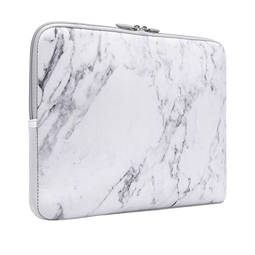 iCasso 13-13.3 inch Laptop Sleeve Bag, Waterproof Shock Resistant Neoprene Notebook Protective Bag Carrying Case Compatible MacBook Pro/MacBook Air - White Marble