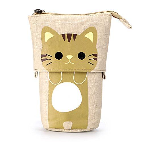 BTSKY Federmappe mit variablem Fuß– ausLeinwand mit niedlicher Comic-Katze für Schreibuntensilien, Kosmetik oder als Aufbewahrungstasche Coffee+Yellow