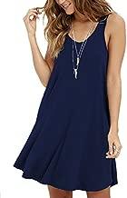 MOLERANI Women's Casual Swing Simple T-shirt Loose Dress, Large, Navy Blue