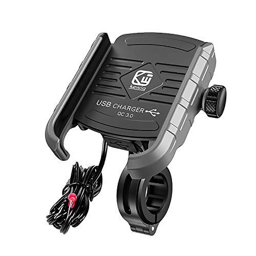 YGL Universale Alluminio Porta Cellulare Motocon con Porta di Ricarica USB, 360 °Regolabile Compatibile da 3,5-6 Pollici Telefono Moto Supporto Smartphone per Scooter Moto Bicicletta(Grigio)