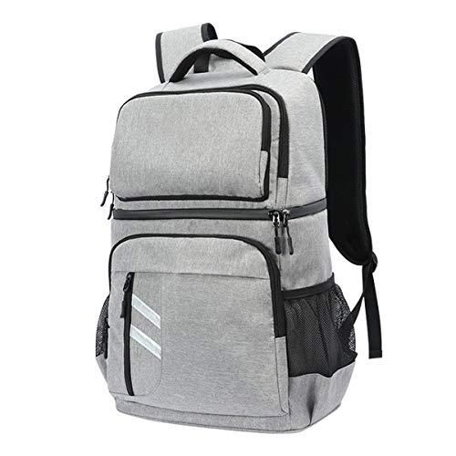 Großer isolierter Lunchrucksack, wasserdichter Rucksack mit Zwei Schultern, 30-l-Rucksack mit großer Kapazität, auslaufsicherer Kühltaschenrucksack, grau, schwarz