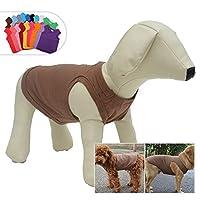 犬ノースリーブTシャツ、大型中型小型犬用のカジュアルドッグコットン服ベストTシャツ、100%着心地の良い、ペットのバック(XS、コーヒーの色)