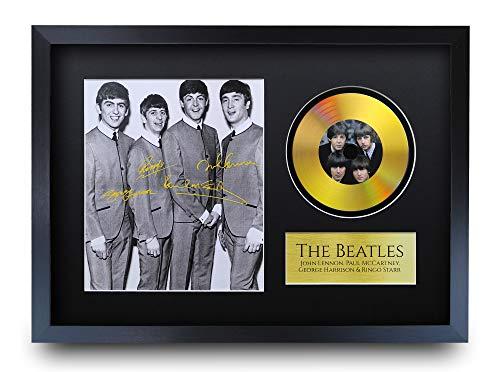 HWC Trading A3 FR The Beatles John Lennon Paul Mccartney George Harrison Ringo Starr Gifts - Foto firmada con un Disco Dorado para Fans de la música Memorabilia - A3 Enmarcado
