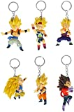 Anime Character Cosplay Keyring Set with 6 PVC Figures