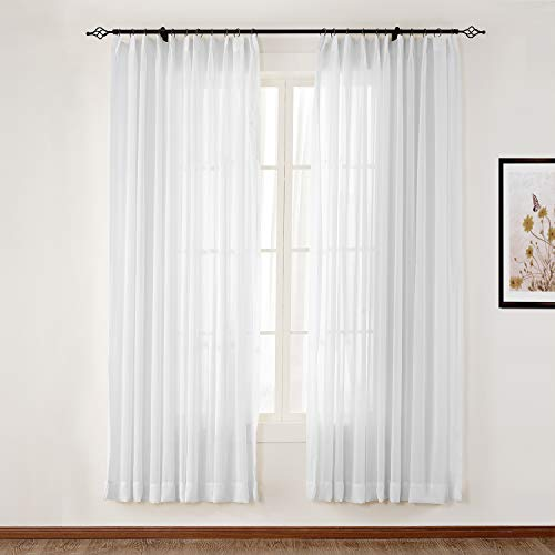 TWOPAGES White Sheer Curtain Voile Pinch Pleat Curtain for Living Room, Window Treatment Drape (1 Panel, 52 x 96 Inches)