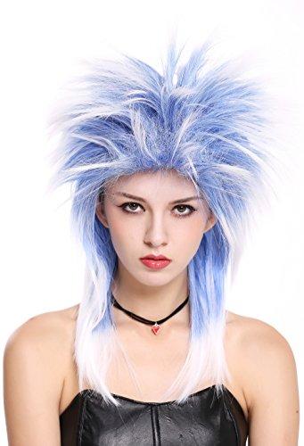 WIG ME UP ® - 90891-ZAC3TZA60 Peluca Mujer Hombre Carnaval Halloween años 80 Punk Wave mójol Pelo de Punta Mezcla Azul Blanco