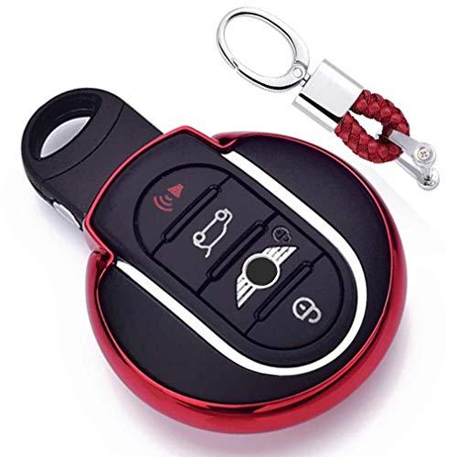 Rot Car Keyless Entry Key Cover Fall für BMW Mini Cooper F54 F55 F56 F57 F60 3/4-Buttons Smart Key, weiches TPU Schutzhülle mit Schlüssel Kette