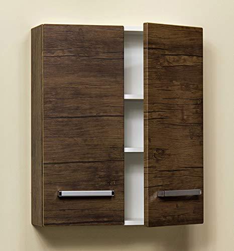 Quentis Badschrank, Breite 60 cm, Zwei Türen, Holzdekor antik, montiert