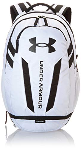 Under Armour Hustle Backpack, White (100)/Black, One Size...