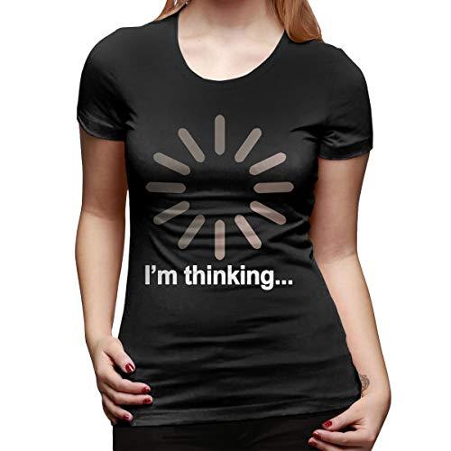 WoodWorths I'm Thinking Womens Short Sleeve T Shirt Tees Sport Summer(Large,Black)