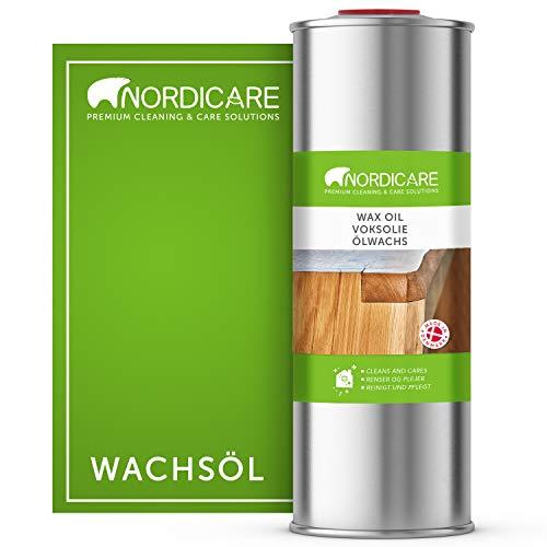 Nordicare Aceite de cera dura [1L] incoloro para el cuidado de la madera I Wax Wood Oil, aceite incoloro para varios tipos de madera I aceite de cera para madera, aceite para el cuidado de la madera