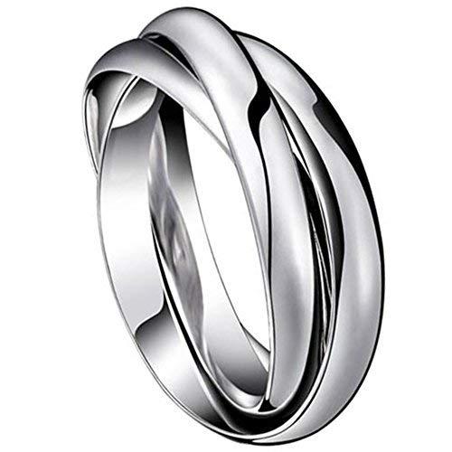 JewelryWe Gioielli Moda Tono Acciaio Inossidabile Tre Anelli Interbloccate Anello Uomo Donna Matrimonio Regalo