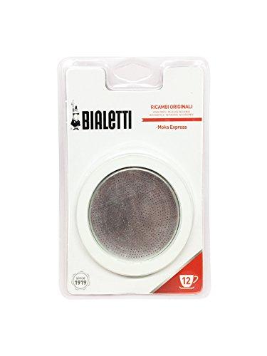 Bialetti 0800006 –Juego de 3Juntas + Filtro para cafeteras Italianas de 12Tazas, Metal, Color Blanco, 5x 5x 1cm