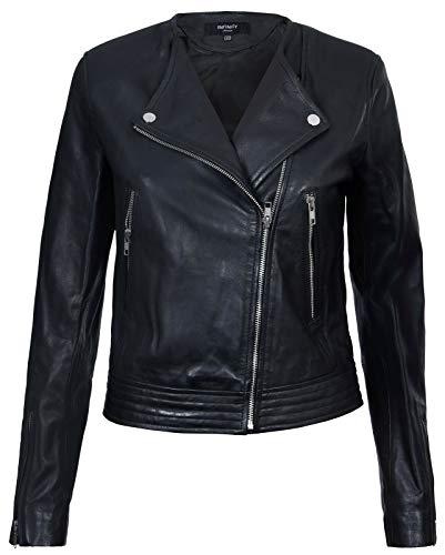 Infinity Leather Damen Lederjacke Motorrad Schwarz Echt Kragenlose XS