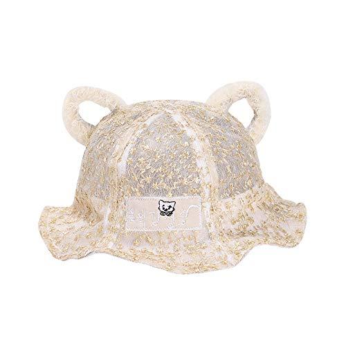 wopiaol Children's hat summer net yarn kitten ears cute baby sun hat Korean sunscreen baby fisherman hat