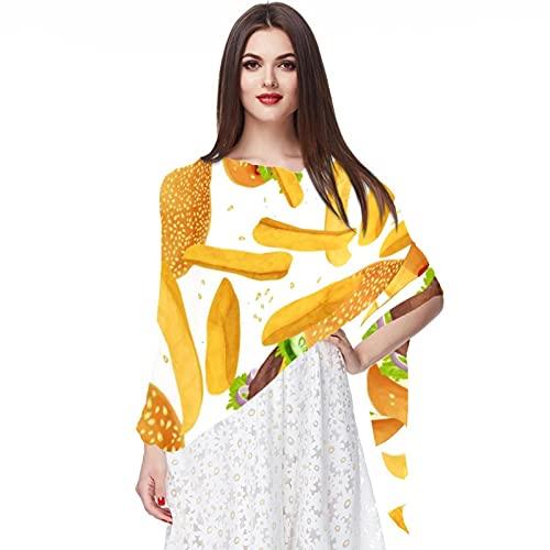 FuJae Écharpe en mousseline de soie pour femme Châle Écharpes longues enveloppantes Hijab Burger de boeuf frites français Sirt à l'épreuve du soleil