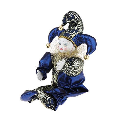 CUTICATE Stehende Porzellan Puppe Clown Puppe mit Bunten Outfits Minipuppen Clown Puppen Dekorfigur - D- 33 cm