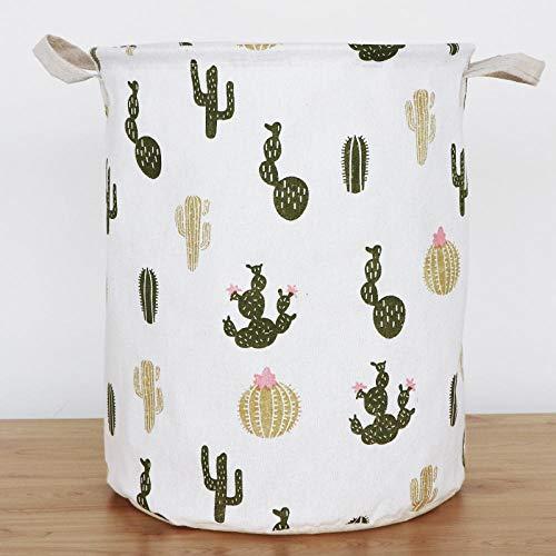 ZXXFR Opvouwbare wasmand, kleine cactus-wasmand met handgreep, waterdicht blad papier compartiment, inklapbaar, gemakkelijk te dragen, geschikt voor slaapkamer, waskeuken