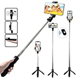 TERSELY Bluetooth Wireless Selfie Stick, 2in1 Tripod Stand with Shutter Remote, Rear Mirror