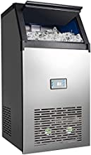 Linsion Commercial Ice Maker Machine 100LBS/24H Freestanding Under Counter Automatic Stainless Steel Ice Cube Machine with 33LBS Temporary Storage Bin