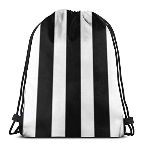 "Yuanmeiju Black and White 3D Print Mochila con cordón Rucksack Shoulder Bags Bolsa de Gimnasio For Adult 16.9""X14"""