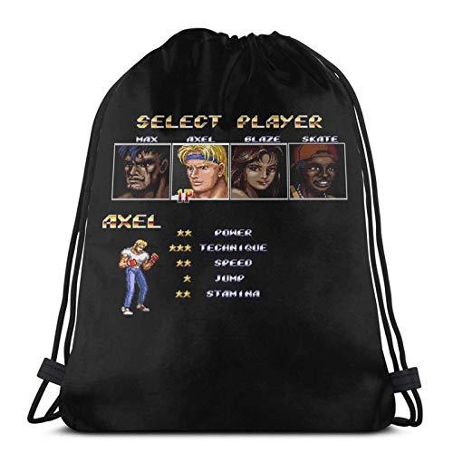 AOOEDM Streets Of Rage 2 y uml; C Select Axel Sport Sackpack Mochila con cordón Mochila de gimnasio Saco