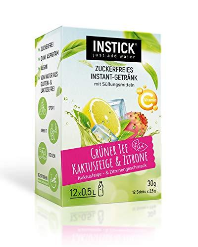 INSTICK | Zuckerfreies Instant-Getränk - Grüner Tee Kaktusfeige & Zitrone / Eistee Kaktusfeige & Zitrone | 12-er Packung für 12 x 0,5 L