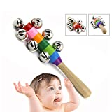 Suanle Baby rattle ,Hand Held Bell Stick Wooden with 10 Metal Hand Jingles Ball Colorful Rainbow Percussion Musical Toy Early Educational Toys for Kids