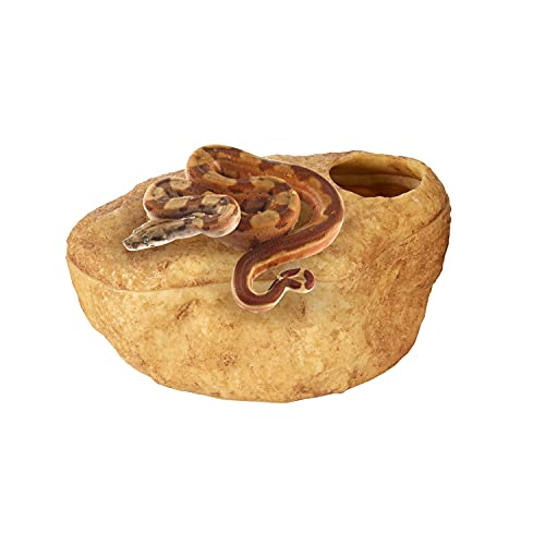 REPTIZOO Reptile Hide Cave, Snake Cave and Hides, 3-in-1 Magnetic Attraction Cave for Snake, Ball Python, Geckos Reptiles (Medium Size)