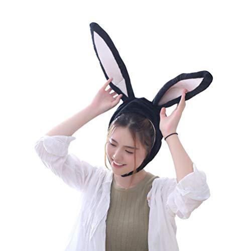 BESTOYARD Kaninchen Hut mit Ohren Lustige Plüsch Hase Ohren Kappe Kaninchen Kostüm Foto Booth Requisiten (Schwarz)
