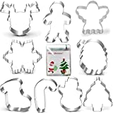 Christmas Cookie Cutter Set-Gingerbread Men, Snowflake, Reindeer, Angel, Christmas Tree, Snowman, Santa Face and More Cookie Cutters molds with 100-Pack Candy Bags. (9 piece)