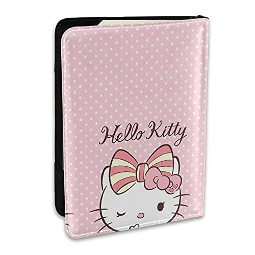 Hello Kitty - Soporte de pasaporte de cuero impreso con dibujos animados para tarjetas de crédito y tarjetas de identificación, accesorios de viaje
