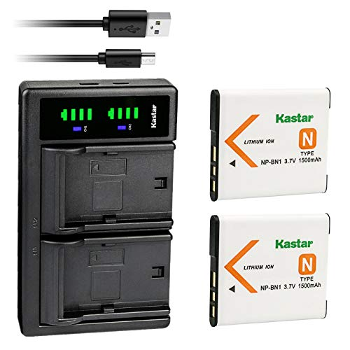 Kastar 2-Pack NP-BN1 Battery and LTD2 USB Charger Replacement for Sony Cyber-Shot DSC-W800, Cyber-Shot DSC-W810, Cyber-Shot DSC-W830, Cyber-Shot DSC-WX5, Cyber-Shot DSC-WX7, Cyber-Shot DSC-WX9