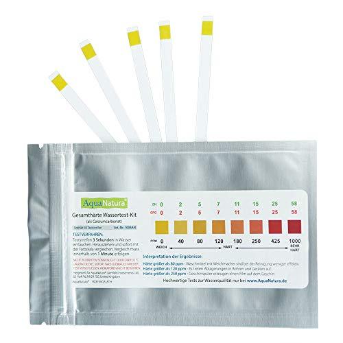 Aquanatura Trinkwasser Wasserhärtetest Härte/Gesamthärte (20 Teststreifen) zuverlässige und schnelle Ergebniss