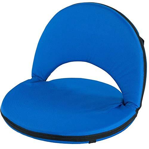 BAKAJI Cuscino Seduta Schienale Reclinabile Cuscinone Sedia da Stadio Pieghevole in Acciaio Inox e Tessuto Imbottito per Spiaggia Campeggio Ambienti Esterni con Tracolla Colore Blu
