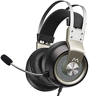 Mpow EG3 Pro Gaming Headset PS4 - Stereo Surround Sound Gaming Headset with Noise Cancelling Mic & In-Line Control, Over-Ear Gaming Headphones with LED Light, Compatible with PC/PS4/Xbox One/Switch