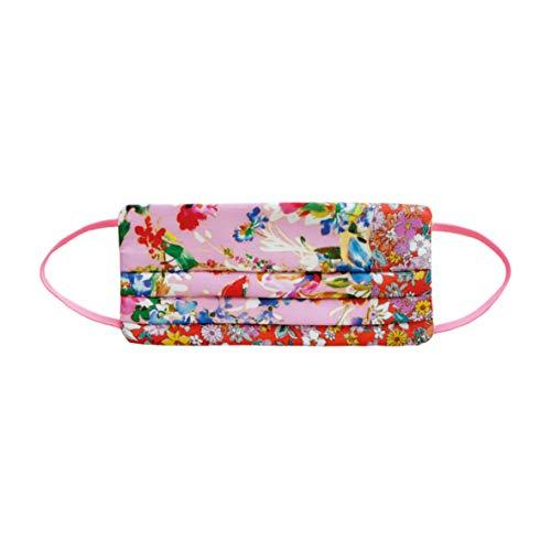 CODELLO Damen Gesichtsmaske   Mund-Nasen-Maske mit bunten Blumen aus Seide, Pink, Einheitsgröße