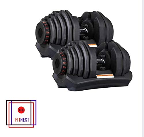 2022 FITNEST SET OF 2 x 90 lbs (180 total) ADJUSTABLE DUMBBELLS 10 TO 90 LBS 180 LBS TOTAL. 34 DIFFERENT WEIGHTS
