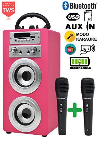 DYNASONIC - Altavoz Bluetooth Portatil con Modo Karaoke y Micrófono, Radio FM y Lector USB SD (Modelo Rosa) (2 Micros TWS)