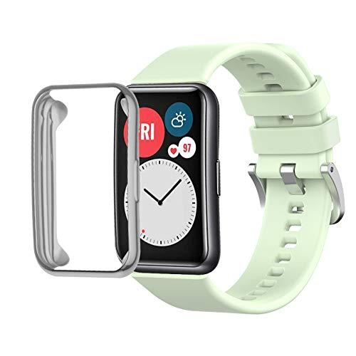 Seltureone Correa de silicona de color sólido compatible con Huawei Watch Fit, correa de repuesto de silicona suave + funda de TPU para Huawei Watch Fit para mujeres y hombres, verde