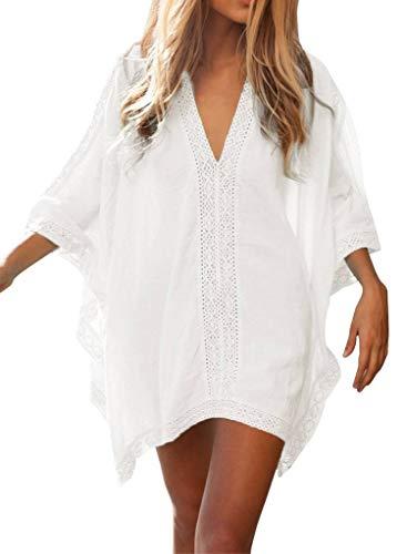 ERGEOB Damen Baumwolle und Spitzenbluse Strand Bikini Badeanzug Strand Kittel weiß