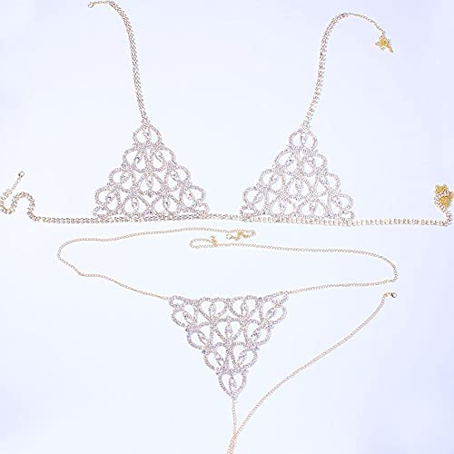 NJBYX Set de bikini de la cadena del cuerpo de la ropa interior de Rhinestone sexy para las mujeres de la forma del corazón del arnés de la joyería del arnés y la tanga (Color : Silver)