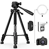KINGJOY 60 inch Camera Tripod for Canon Nikon Lightweight Aluminum Travel DSLR Camera Stand with...
