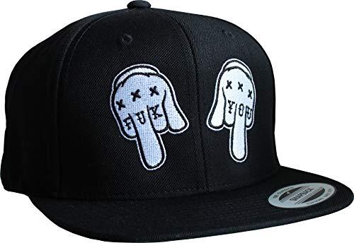 Cap: FUK YOU - Flexfit Snapback - Urban Streetwear - Basecap - Männer Mann Frau-en - Baseball-cap - Hip-Hop Rap-per - Mütze - Kappe - FCK Fuck - Thug - USA - Vintage Retro - Schwarz (One Size)